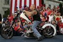 Orange County Chopper founder Teutul Sr. rides POW/MIA chopper during rally in Media, Pennsylvania