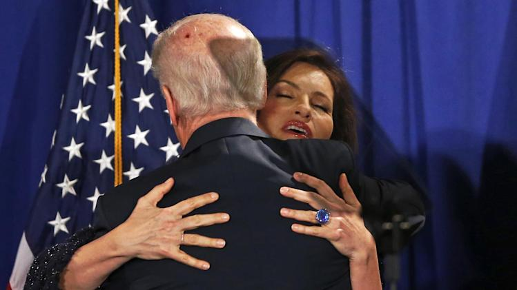 Vice President Joe Biden hugs actress Mariska Hargitay, from Law and Order's Special Victims Unit, after he spoke about reducing domestic violence, Wednesday, March 13, 2013, at the Montgomery County Executive Office Building in Rockville, Md. (AP Photo/Charles Dharapak)