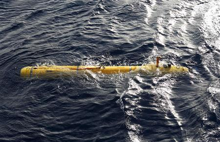 The U.S. Navy's Bluefin-21 autonomous underwater vehicle is deployed from the Australian Defence Vessel Ocean Shield in the southern Indian Ocean