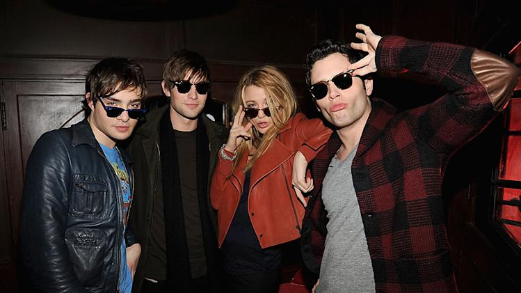 Ed Westwick, Chace Crawford, Blake Lively and Penn Badgley wearing Ray-Ban sunglasses attend Ray-Ban Remasters at Bowery Ballroom on December 9, 2008 in New York City.