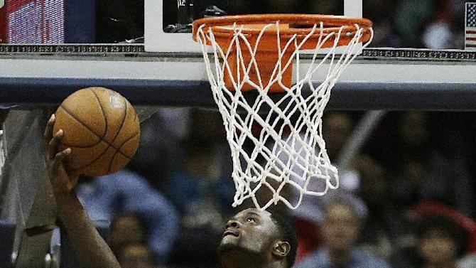 Indiana Pacers shooting guard Lance Stephenson (1) shoots against the Atlanta Hawks during the second half of an NBA first-round playoff basketball game in Atlanta, Friday, May 3, 2013. Indiana won 81-73. (AP Photo/John Bazemore)
