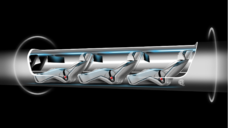 Hyperloop passenger capsule version cutaway with passengers on board