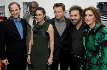 Marshall Herskovitz , producer, Djimon Hounsou , Jennifer Connelly , Leonardo DiCaprio , Edward Zwick , director and Paula Weinstein , producer at the New York premiere of Warner Bros. Blood Diamond