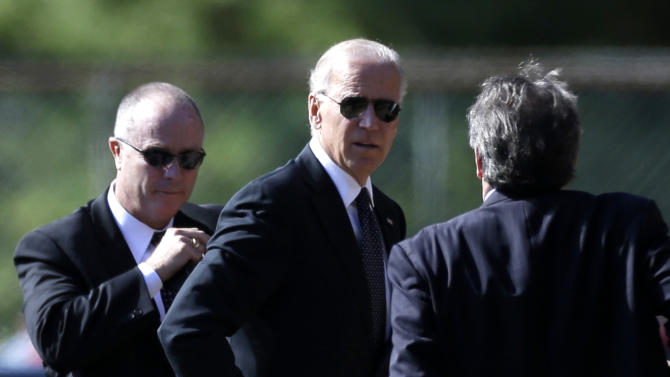Vice President Joe Biden arrives at Har Zion Temple in in Penn Valley, Pa., Tuesday, Oct. 16, 2012, to attend funeral services for former Pennsylvania Sen. Arlen Specter.  Family members say Specter died Sunday of complications from non-Hodgkin lymphoma. He was 82. (AP Photo/Matt Rourke)