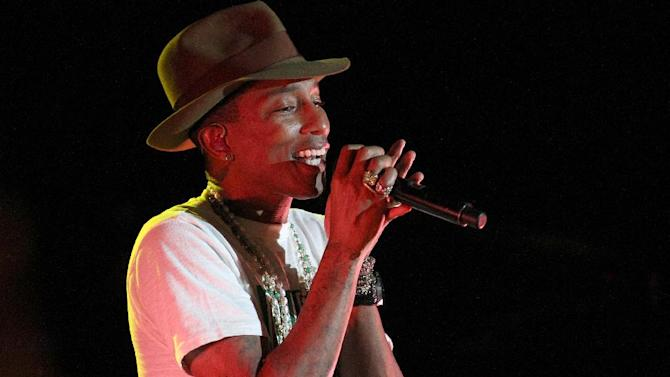 Pharrell Williams performs at the Sprint Sound Sessions event at Webster Hall on Tuesday, April 29, 2014 in New York. (Photo by Donald Traill/Invision/AP)