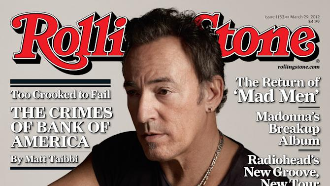 "In this magazine cover released by Rolling Stone, Bruce Springsteen is shown on the cover of the March 29, 2012 issue of ""Rolling Stone"" magazine. Springsteen tells Rolling Stone in an interview by Jon Stewart that he shed tears when he heard Clarence Clemons' saxophone on ""Wrecking Ball.""  After Clemons died, producer Ron Aniello took a live rendition of the concert staple ""Land of Hopes and Dreams,"" separated Clemons' part and inserted it into a studio version of the song. (AP Photo/Rolling Stone)"