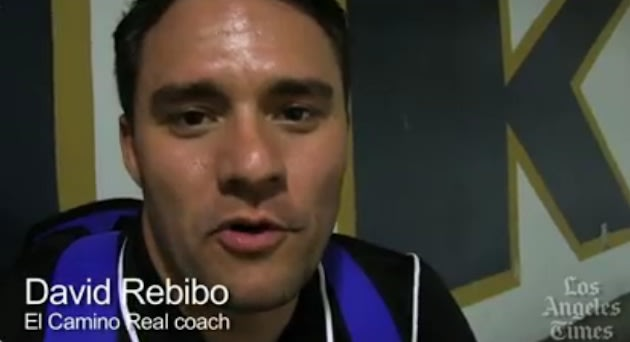 El Camino Real coach David Rebibo, who faces off against his roommate's team on Thursday — Los Angeles Times screenshot