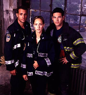 Bobby Cannavale as Bobby Caffey, Kim Raver as Kim Zambrano and Eddie Cibrian as Jimmy Doherty on NBC's Third Watch Third Watch
