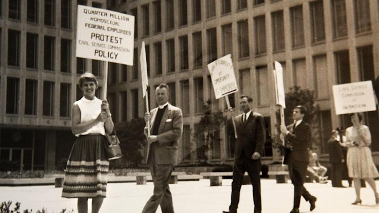 This black-and-white photo, taken in 1965, provided by Lilli Vincenz, shows Vincenz, left, picketing at the Civil Service Commission in Washington. President Barack Obama's declaration that he supports gay marriage may have lacked the urgency of Kennedy's push for the Civil Rights Act, or the force and finality of the Emancipation Proclamation, but in places key to the history of gay rights, it's being greeted as a major milestone. (AP Photo)