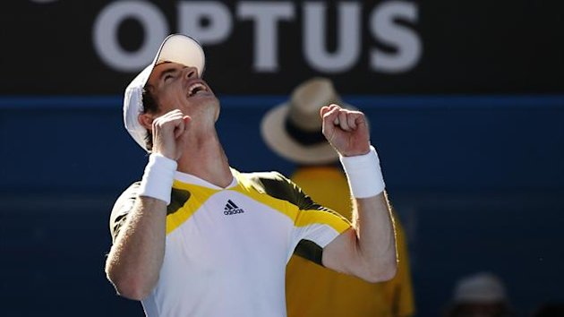Andy Murray of Britain celebrates defeating Ricardas Berankis of Lithuania during their men's singles match at the Australian Open