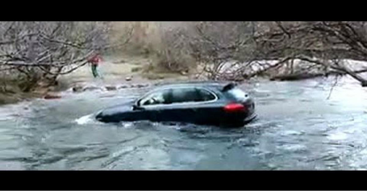 Major Fail! Porsche Tries to Cross River