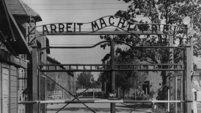 the main gate of the Nazi concentration camp Auschwitz I in Poland