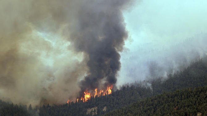Fire burns through the trees on a wildfire near Pine, Colo., on Wednesday, June 19, 2013. A new wildfire in the foothills southwest of Denver forced the evacuation of dozens of homes Wednesday as hot and windy conditions in much of Colorado and elsewhere in the West made it easy for fires to start and spread.  (AP Photo/Ed Andrieski)