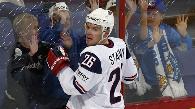Team USA's Paul Stastny (front) celebrates his goal against Russia during their 2013 IIHF Ice Hockey World Championship quarter-final match at the Hartwall Arena in Helsinki May 16, 2013. (Reuters)