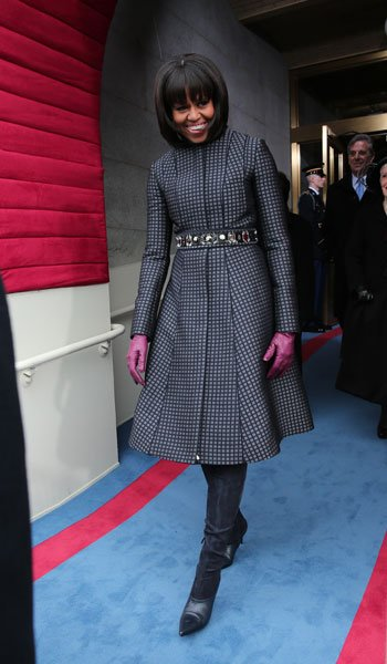 First lady Michelle Obama arrives during the presidential inauguration on the West Front of the U.S. Capitol January 21, 2013 in Washington, DC. Barack Obama was re-elected for a second term as Presid