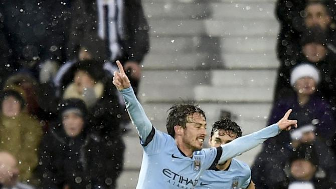Manchester City's David Silva celebrates after scoring a goal during their English Premier League soccer match against West Bromwich Albion at The Hawthorns in West Bromwich