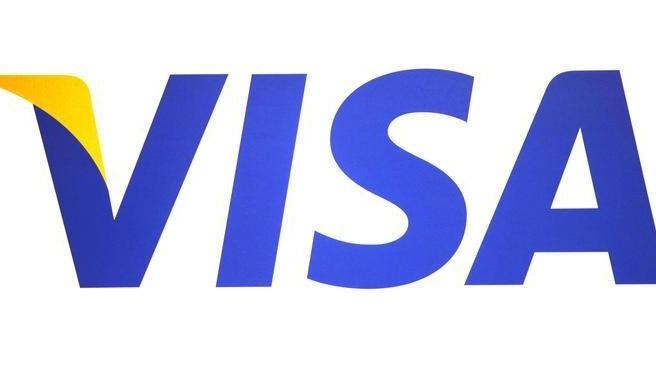 A Visa logo is seen during the International CTIA WIRELESS Conference & Exposition in New Orleans, Louisiana