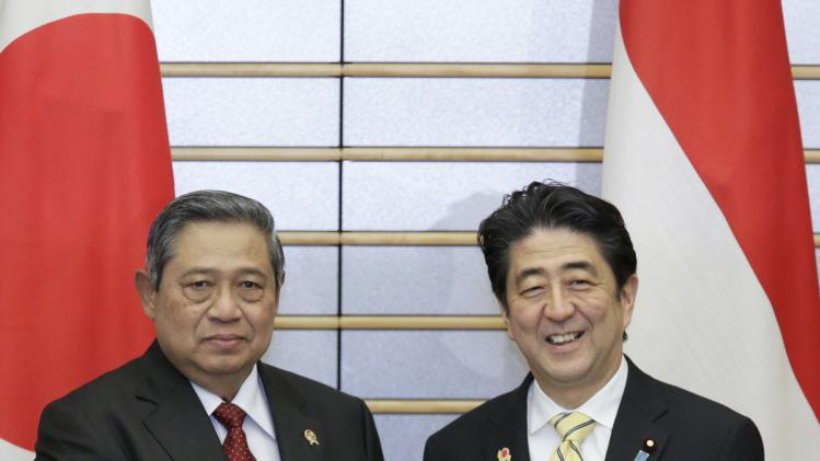 Yudhoyono shakes hands with Abe at the start of their talks in Tokyo