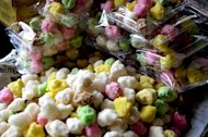 Rainbow taste: Geplak, a colorful pastries made from grated coconut that has a very sweet taste. (