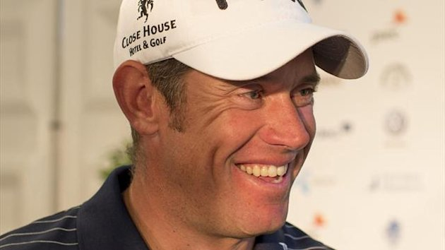 GOLF England&#39;s Lee Westwood smiles after the third round of the Scandinavian Masters golf tournament at Bro Hof golf club in Stockholm June 8, 2012.