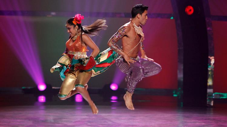 "Contestant Clarice Ordaz and All-Star  Robert Roldan perform a Bollywood routine to ""Aila Re Aila,"" choreographed by Nakul Dev Mahajan on ""So You Think You Can Dance."""