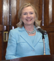Secretary of State Hillary Rodham Clinton speaks during a press availability with Zambia's President Rupiah Banda during a press availability at the State House in Lusaka, Zambia, Friday, June 10, 2011. (AP Photo/Susan Walsh, Pool)