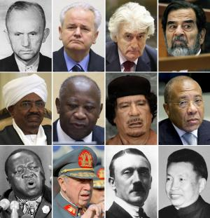 Former Liberian President Charles Taylor, middle row at right, is part of a long parade of leaders accused of war crimes in modern history. This combination of file photos shows some others accused of war crimes, from top left, Nazi leader Karl Doenitz, ex-Yugoslav President Slobodan Milosevic, former Bosnian Serb leader Radovan Karadzic, former Iraqi leader Saddam Hussein; middle row from left, Sudanese President Omar al-Bashir, former Ivory Coast President Laurent Gbagbo, former Libyan leader Moammar Gadhafi, former Liberian President Charles Taylor; bottom row from left, Uganda's former dictator Idi Amin, former Chilean President Gen. Augusto Pinochet, Nazi dictator Adolf Hitler, and Khmer Rouge leader Pol Pot. (AP Photo/File)