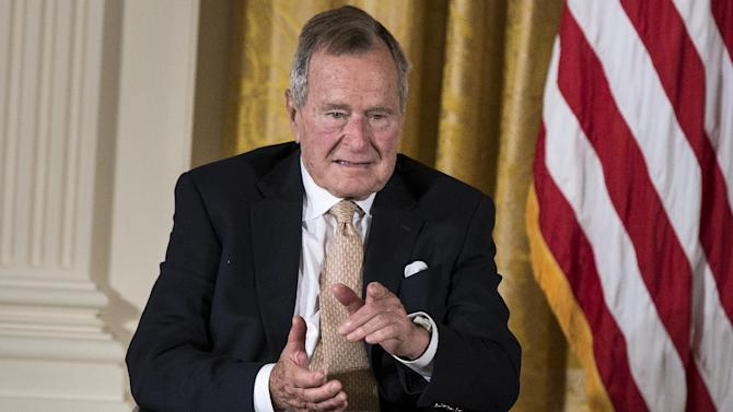 Former US President George H.W. Bush at the White House in Washington, DC on July 15, 2013