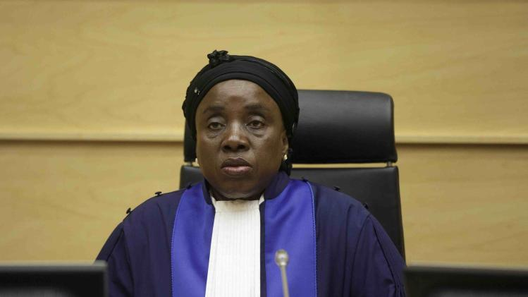 Judge Fatoumata Dembele Diarra awaits the verdict during a trial against Congolese warlord Germain Katanga in the courtroom of the International Criminal Court (ICC) in The Hague