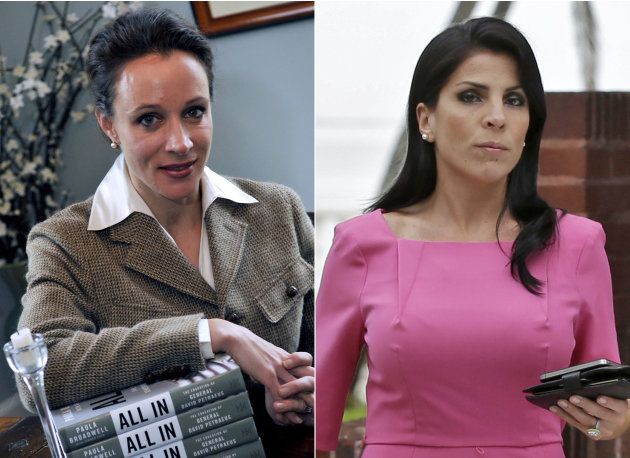 This combo made from file photos shows Gen. David Petraeus' biographer and paramour Paula Broadwell, left, and Florida socialite Jill Kelley. Broadwell and Kelley, the two women at the center of D