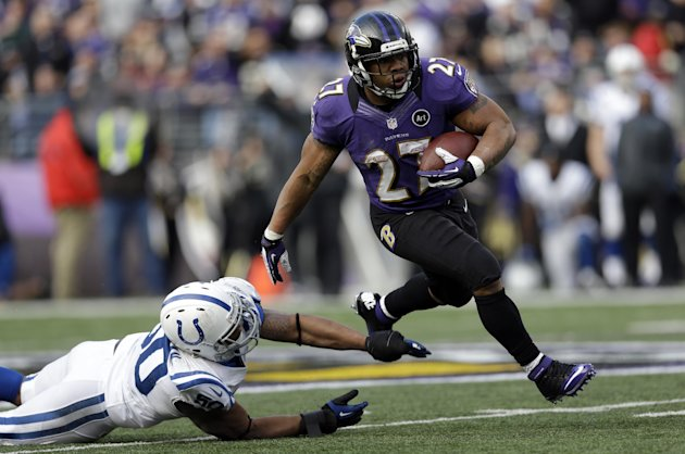 Baltimore Ravens running back Ray Rice (27) runs with the ball and gets away from Indianapolis Colts inside linebacker Jerrell Freeman (50), for a 47 yard gain, during the first half of an NFL wild ca