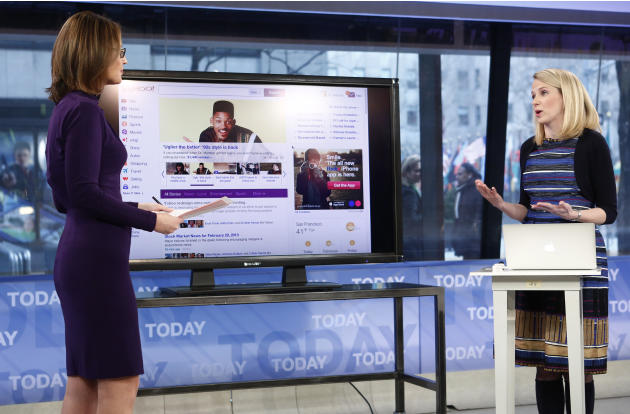 "This image released by NBC shows host Savannah Guthrie, left, with Yahoo CEO Marissa Mayer on NBC News' ""Today"" show, Wednesday, Feb. 20, 2013 in New York as Mayer introduces the website's redesign. Y"