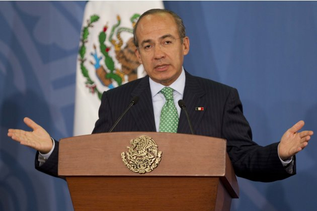 Mexico's President Felipe Calderon speaks during a news conference at Los Pinos presidential residence in Mexico City, Tuesday, June 12, 2012. Mexico is hosting the upcoming G-20 summit, beginning Fri