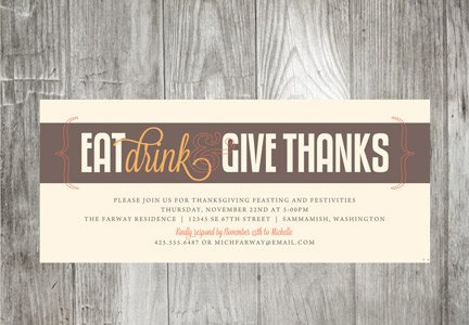 Eat Drink and Give Thanks Invitations
