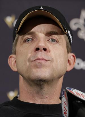 FILE - This Jan. 14, 2012 file photo shows New Orleans Saints head coach Sean Payton speaks during a postgame news conference after an NFL divisional playoff football game against the San Francisco 49ers, in San Francisco. NFL Commissioner Roger Goodell has rejected the appeals of coach Sean Payton and other New Orleans Saints officials stemming from the league's probe into the club's bounty system. After hearing from Payton, general manager Mickey Loomis and assistant head coach Joe Vitt last week, Goodell decided Monday, April 9, 2012,  to uphold his initial sanctions, which include Payton's suspension for the entire 2012 season. (AP Photo/Paul Sakuma, File)