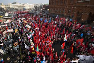 Activists from Russia's Anti-Maidan movement gather …