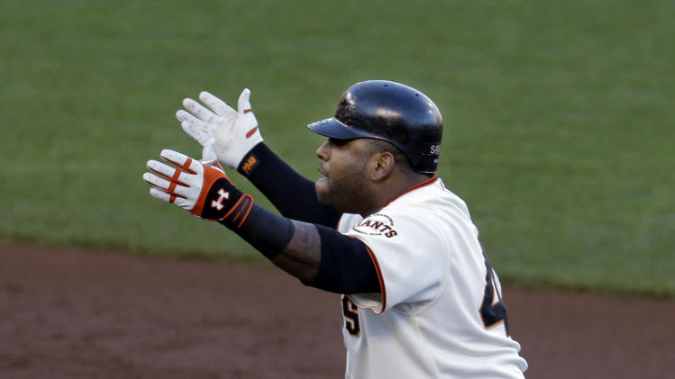 San Francisco Giants' Pablo Sandoval reacts after hitting a double during the first inning of Game 6 of baseball's National League championship series against the St. Louis Cardinals Sunday, Oct. 21, 2012, in San Francisco. (AP Photo/Eric Risberg)