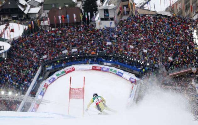 Aksel Lund Svindal of Norway skis during the second run of the men's Giant Slalom race at the World Alpine Skiing Championships in Schladming