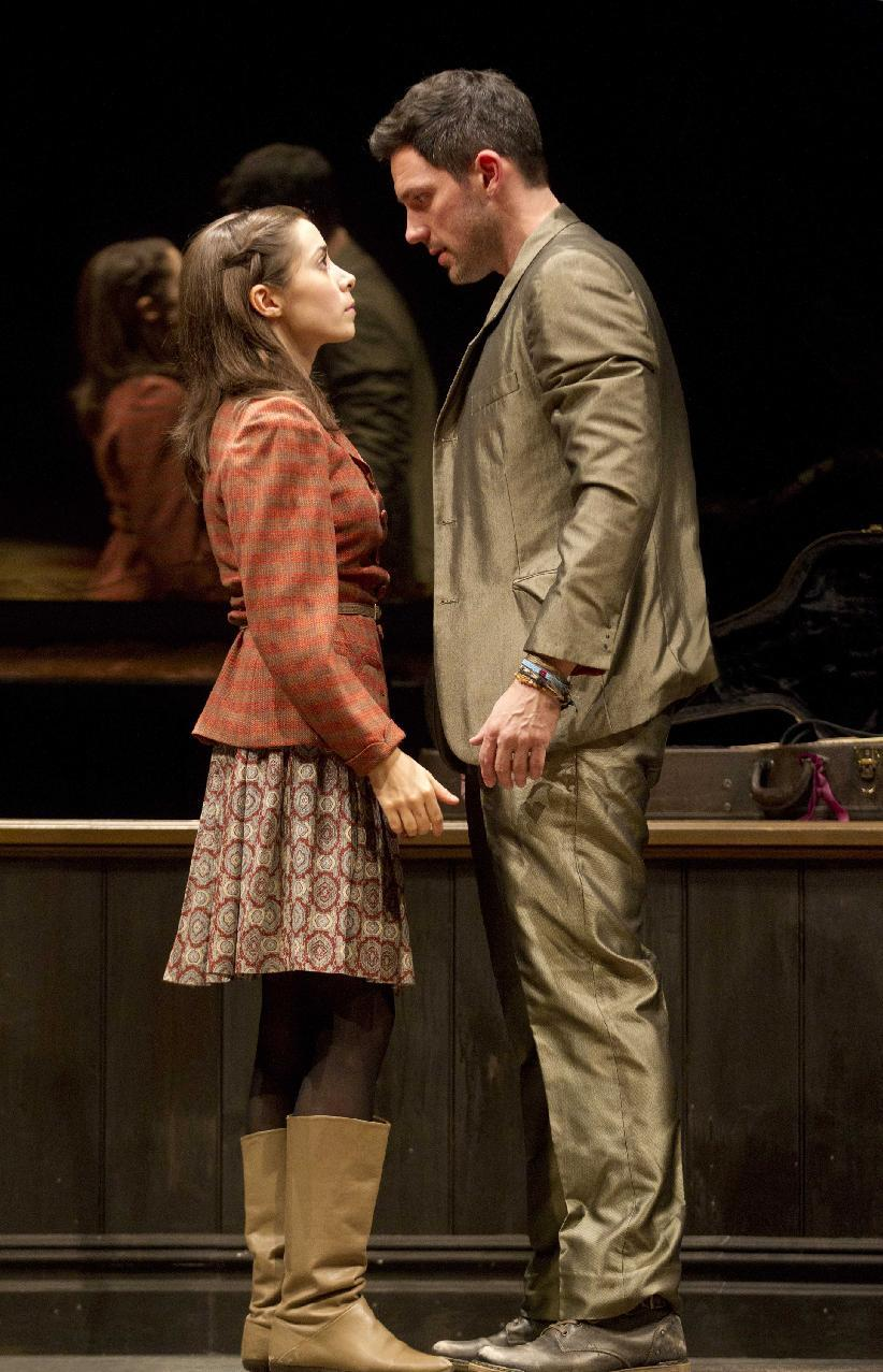 "In this theater image released by Boneau/Bryan-Brown, Steve Kazee, right, and Cristin Milioti are shown in a scene from ""Once,"" in New York. (AP Photo/Boneau/Bryan-Brown, Joan Marcus)"