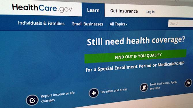 FILE - This Sept. 15, 2014, photo shows part of the HealthCare,gov Website in Washington. The government's own watchdogs say they tried to hack into HealthCare.gov earlier this year and found what they termed a critical vulnerability. But they also came away with respect for some of the security features on the Obama administration's health insurance website. The report is being released Tuesday, Sept. 23 by the inspector general's office of the Health and Human Services department.  (AP Photo/Jon Elswick, File)