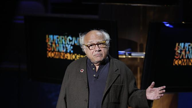 """In this photo provided by NBC, Danny DeVito performs during """"Hurricane Sandy: Coming Together"""" Friday, Nov. 2, 2012, in New York. Hosted by Matt Lauer, the event is heavy on stars identified with New Jersey and the New York metropolitan area, which took the brunt of this week's deadly storm. (AP Photo/NBC, Heidi Gutman)"""