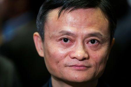Alibaba founder Jack Ma waits for an interview at the NYSE before the company's IPO, in New York