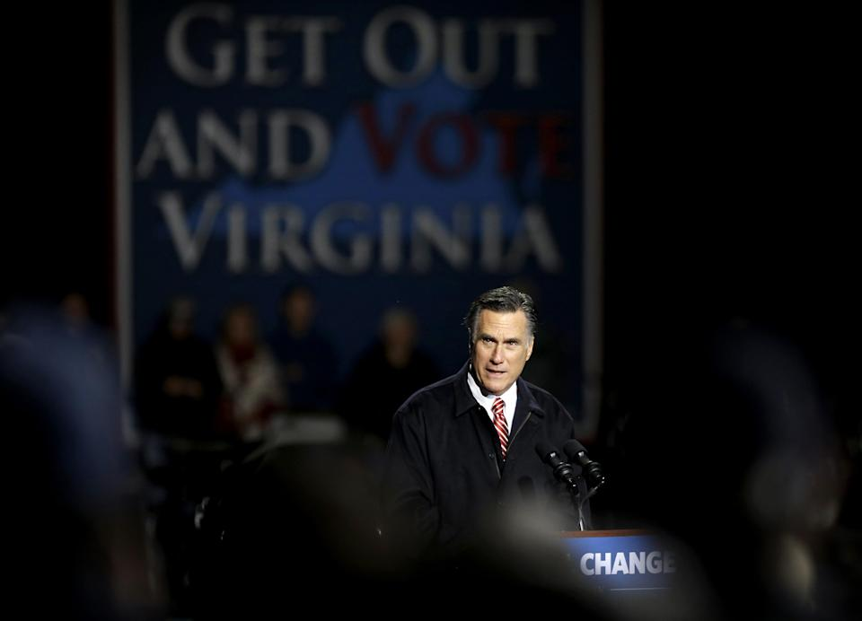Republican presidential candidate, former Massachusetts Gov. Mitt Romney speaks during a campaign event at Farm Bureau Live, Thursday, Nov. 1, 2012, in Virginia Beach, Va. (AP Photo/David Goldman)
