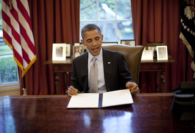 President Barack Obama after signing a proclamation in the Oval Office of the White House in Washington, Friday, April 20, 2012, to designate federal lands within Fort Ord, a former military base located on California's Central Coast, as a National Monument under the Antiquities Act. (AP Photo/Pablo Martinez Monsivais)