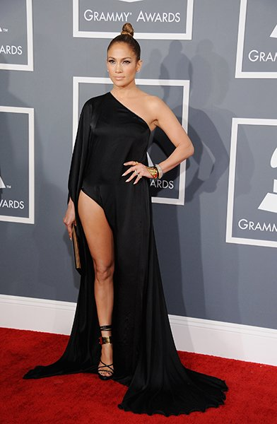 BEST: JLo wearing Anthony Vaccarello  Honestly, JLo probably inspired the Grammy dress code in her now-infamous gown from 2000. This year, she ruffled a few feathers in her tongue-and-cheek version of