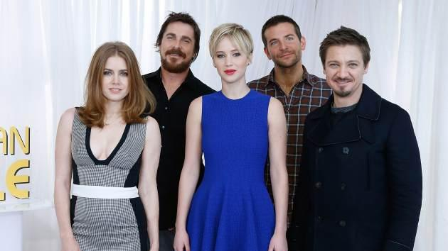 Amy Adams, Christian Bale, Jennifer Lawrence, Bradley Cooper and Jeremy Renner are seen at the 'American Hustle' cast photocall at Crosby Street Hotel on December 8, 2013 in New York City -- Getty Images
