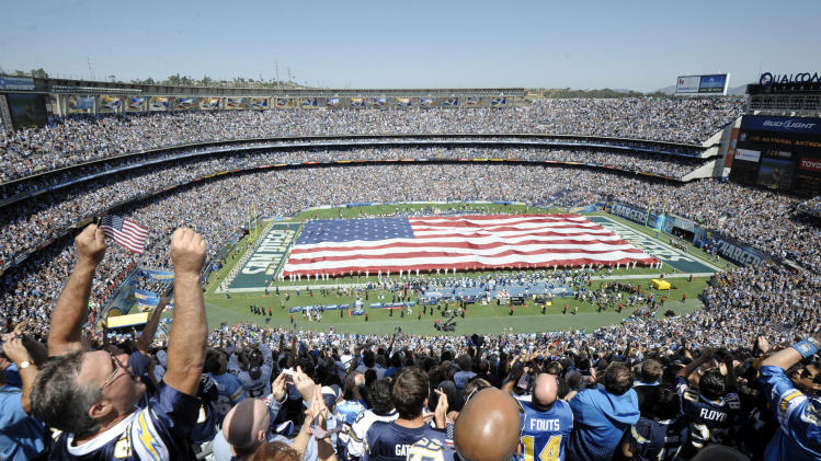 Fans cheer during a tribute for the tenth anniversary of Sept. 11 before the San Diego Chargers face the Minnesota Vikings in an NFL football game Sunday, Sept. 11, 2011, in San Diego.   (AP Photo/Denis Poroy)