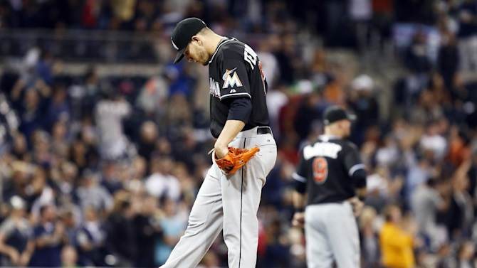 Miami Marlins starting pitcher Jose Fernandez kicks the dirt on the mound after surrendering a grand slam home run to San Diego Padres' Jedd Gyorko during the sixth inning of a baseball game Friday, May 9, 2014, in San Diego. It was Gyorko second homer of the night off Fernandez