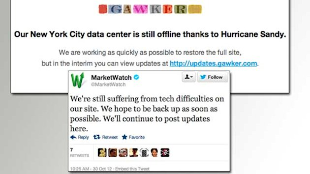 Hurricane Takes Down Big Websites (ABC News)