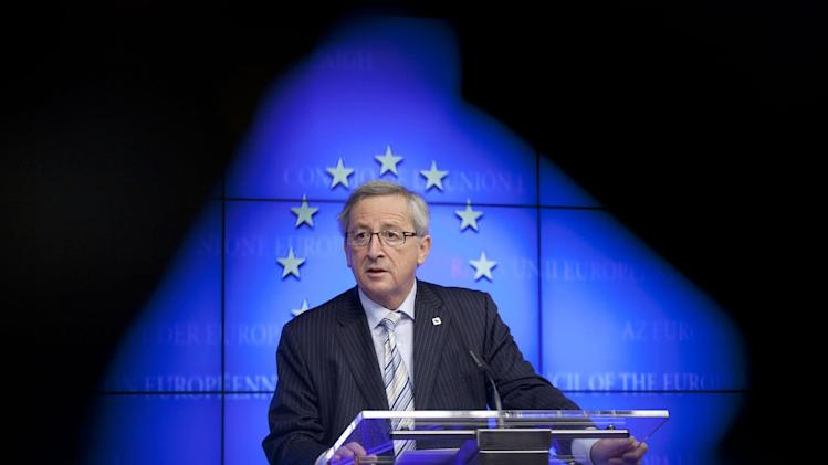 FILE - In this Dec. 13, 2012 file photo, Luxembourg's Prime Minister Jean-Claude Juncker speaks during a media conference in Brussels. The incoming leader of Europe's most powerful bureaucracy is a master of the backroom deal, and an outspoken and witty career politician who once advocated the right to lie in times of crisis. Juncker, who was prime minister of Luxembourg for almost two decades, was a controversial pick as the 28-nation European Union's new chief executive, not least because the British government vociferously opposed him. (AP Photo/Virginia Mayo, file)